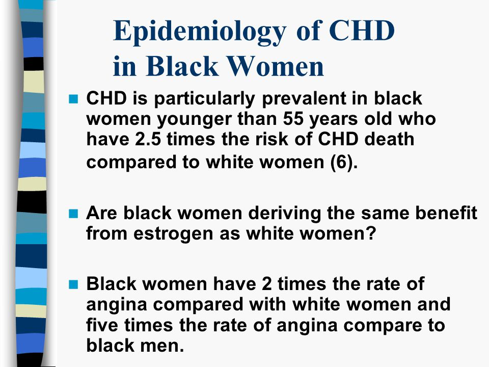 Epidemiology of CHD in Black Women CHD is particularly prevalent in black women younger than 55 years old who have 2.5 times the risk of CHD death compared to white women (6).