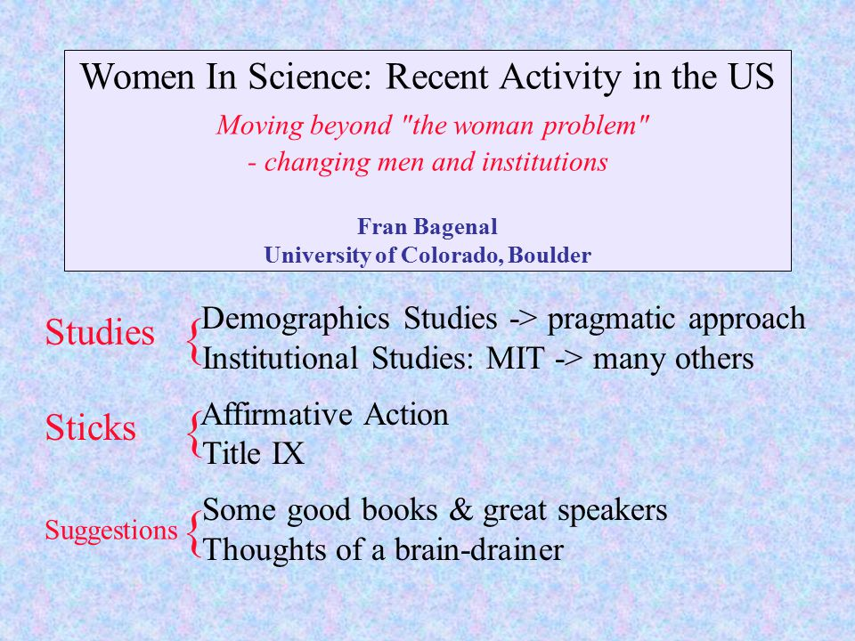 Women In Science: Recent Activity in the US Moving beyond the woman problem - changing men and institutions Fran Bagenal University of Colorado, Boulder Demographics Studies -> pragmatic approach Institutional Studies: MIT -> many others Affirmative Action Title IX Some good books & great speakers Thoughts of a brain-drainer Studies Sticks Suggestions { { {