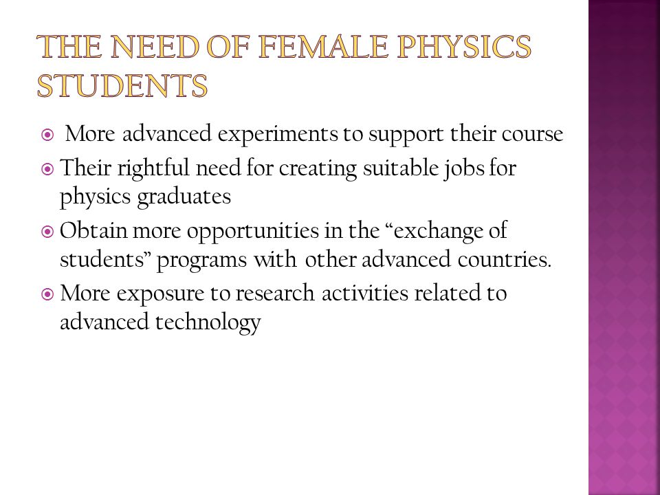  More advanced experiments to support their course  Their rightful need for creating suitable jobs for physics graduates  Obtain more opportunities