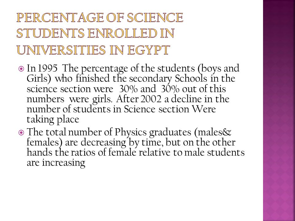  In 1995 The percentage of the students (boys and Girls) who finished the secondary Schools in the science section were 30% and 30% out of this numbe
