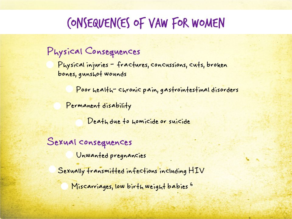 Consequences of VAW for women Physical Consequences Physical injuries - fractures, concussions, cuts, broken bones, gunshot wounds Poor health- chronic pain, gastrointestinal disorders Permanent disability Death due to homicide or suicide Sexual consequences Unwanted pregnancies Sexually transmitted infections including HIV Miscarriages, low birth weight babies 6