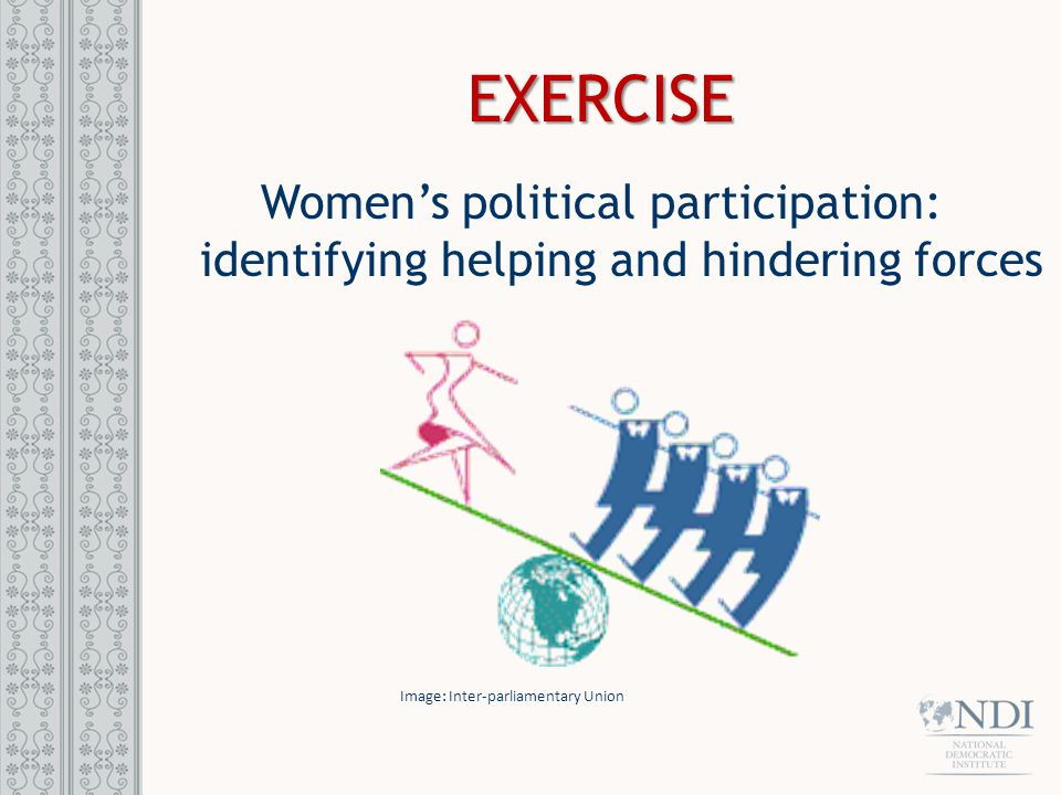 EXERCISE Women's political participation: identifying helping and hindering forces Image: Inter-parliamentary Union