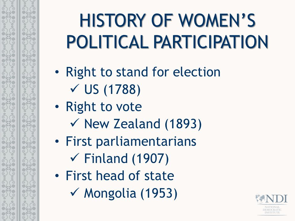 HISTORY OF WOMEN'S POLITICAL PARTICIPATION Right to stand for election US (1788) Right to vote New Zealand (1893) First parliamentarians Finland (1907) First head of state Mongolia (1953)