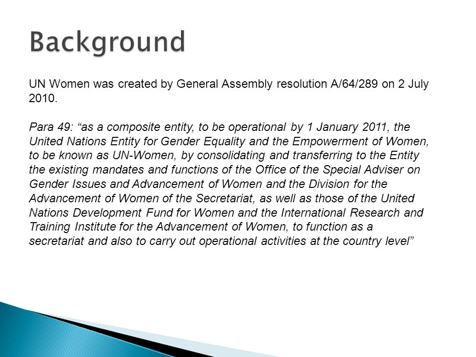 For representatives of women's organizations: What is the unique role that UN Women can play.