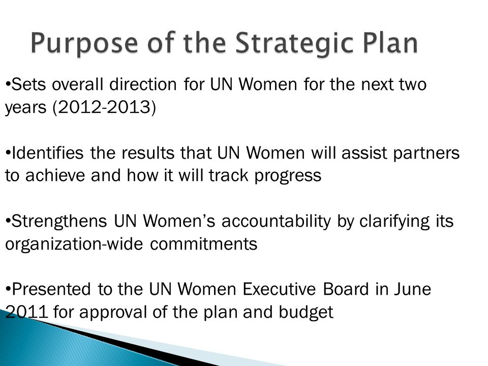 Sets overall direction for UN Women for the next two years (2012-2013) Identifies the results that UN Women will assist partners to achieve and how it