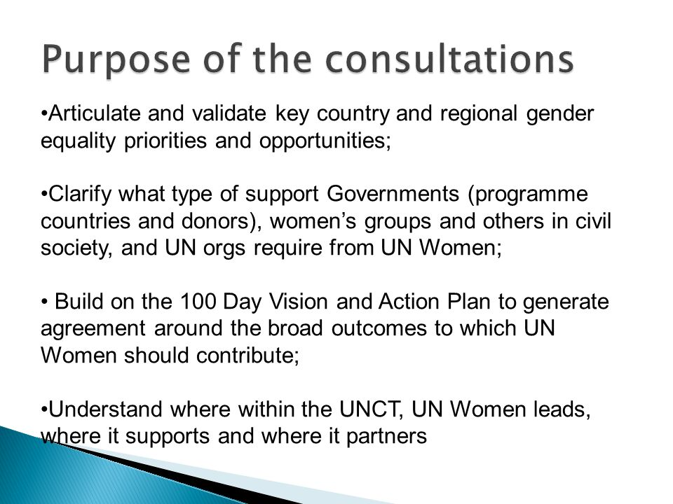 Articulate and validate key country and regional gender equality priorities and opportunities; Clarify what type of support Governments (programme cou