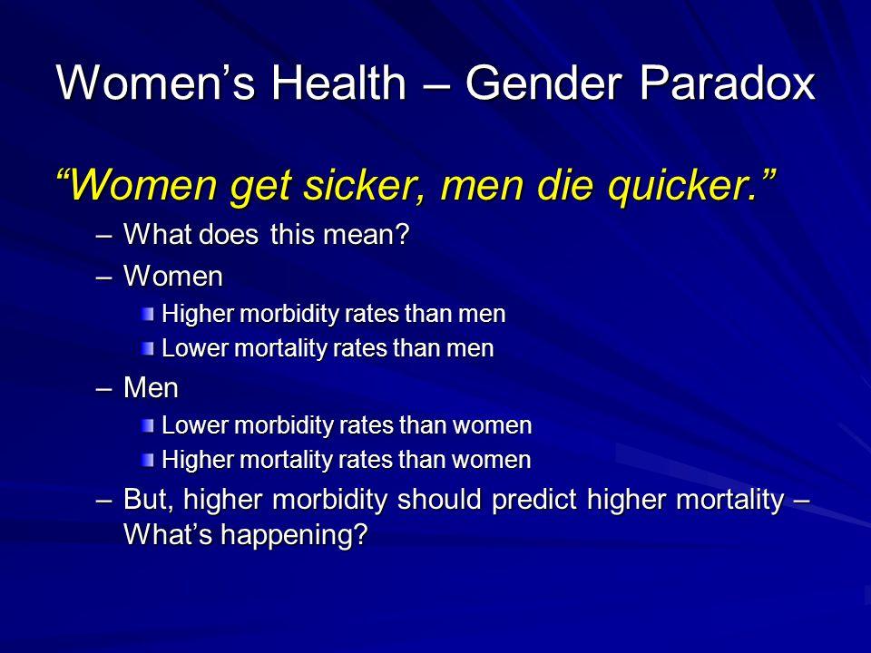 Women's Health – Gender Paradox Women get sicker, men die quicker. –What does this mean.