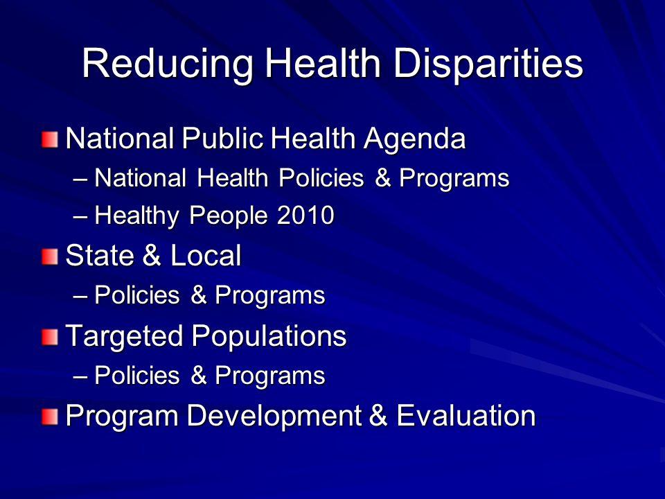 Reducing Health Disparities National Public Health Agenda –National Health Policies & Programs –Healthy People 2010 State & Local –Policies & Programs Targeted Populations –Policies & Programs Program Development & Evaluation