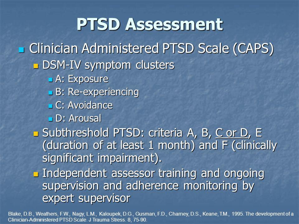 PTSD Assessment Clinician Administered PTSD Scale (CAPS) Clinician Administered PTSD Scale (CAPS) DSM-IV symptom clusters DSM-IV symptom clusters A: E
