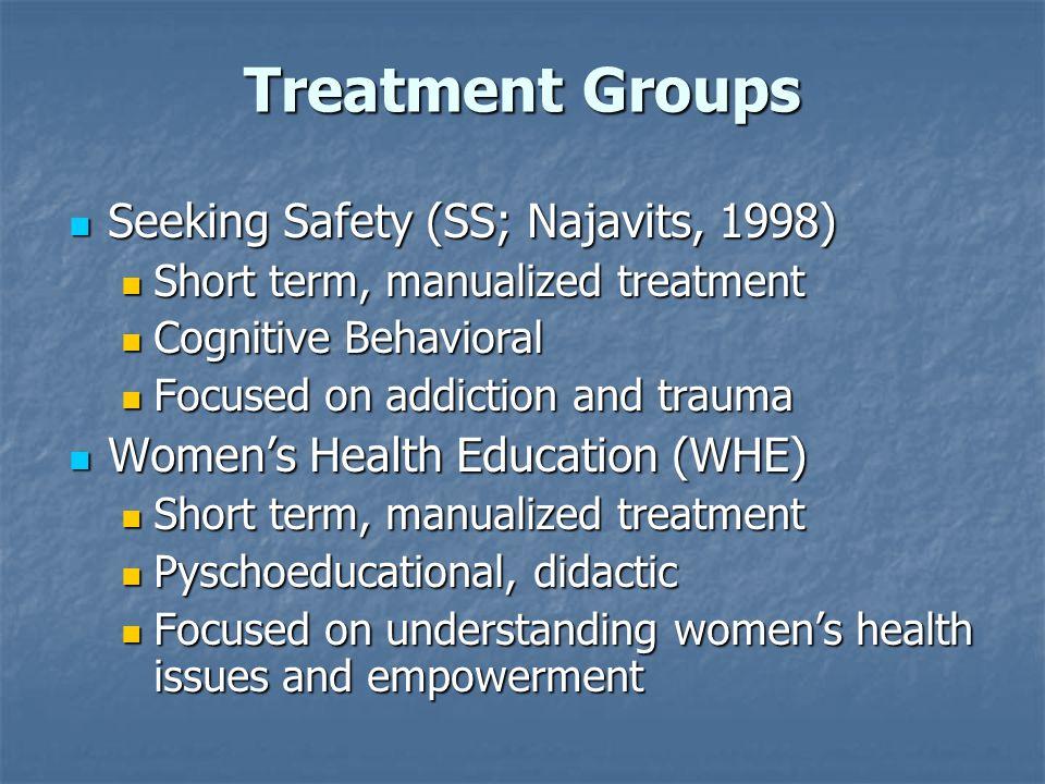 Treatment Groups Seeking Safety (SS; Najavits, 1998) Seeking Safety (SS; Najavits, 1998) Short term, manualized treatment Short term, manualized treat