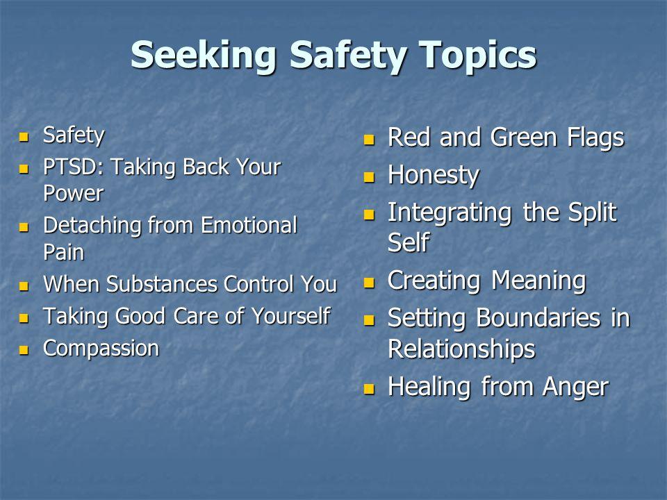 Seeking Safety Topics Safety Safety PTSD: Taking Back Your Power PTSD: Taking Back Your Power Detaching from Emotional Pain Detaching from Emotional P