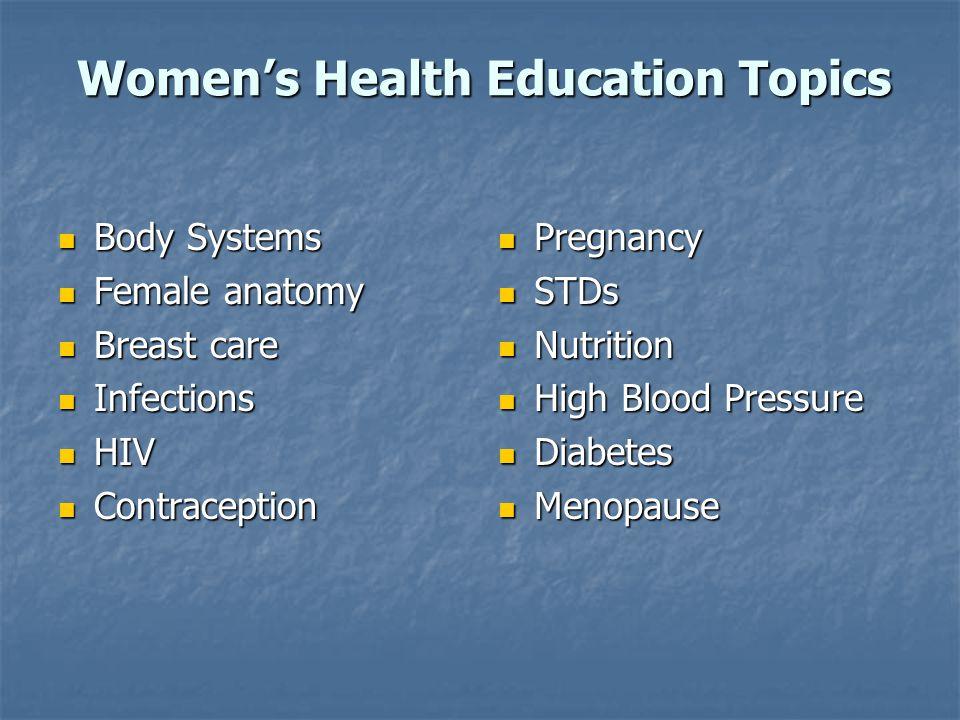 Women's Health Education Topics Body Systems Body Systems Female anatomy Female anatomy Breast care Breast care Infections Infections HIV HIV Contrace