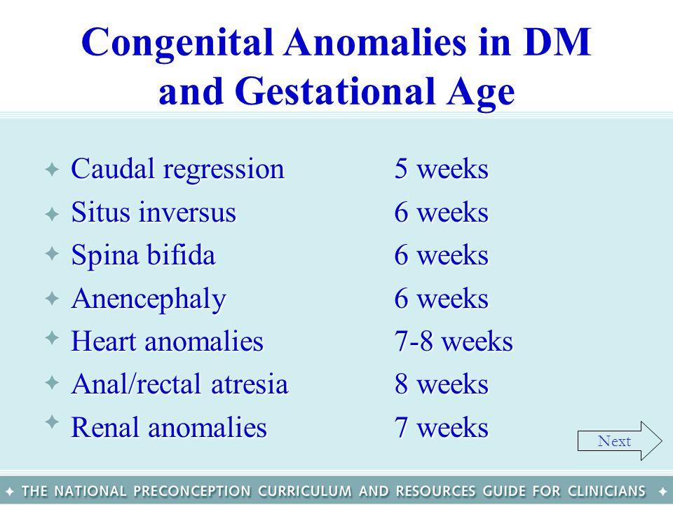 Congenital Anomalies in DM and Gestational Age Caudal regression5 weeks Situs inversus6 weeks Spina bifida6 weeks Anencephaly6 weeks Heart anomalies7-