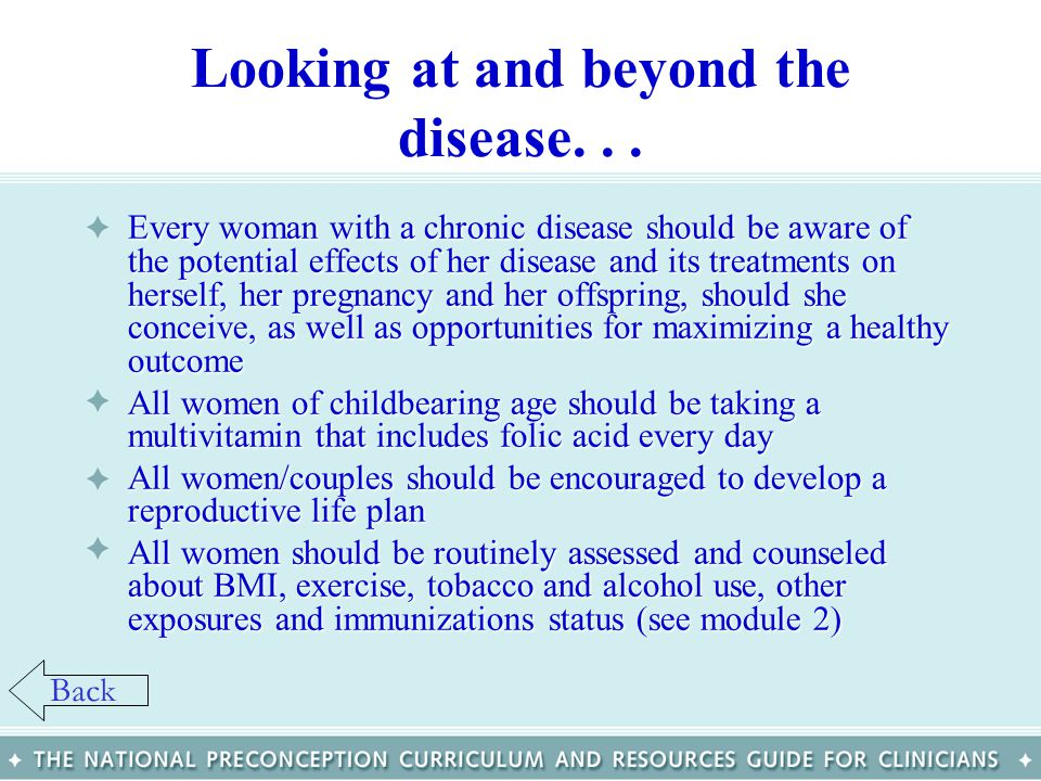 Looking at and beyond the disease... Every woman with a chronic disease should be aware of the potential effects of her disease and its treatments on