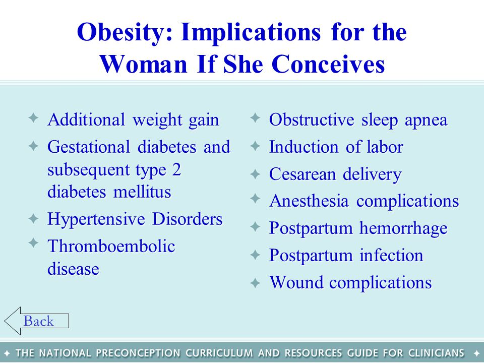Obesity: Implications for the Woman If She Conceives Additional weight gainAdditional weight gain Gestational diabetes and subsequent type 2 diabetes