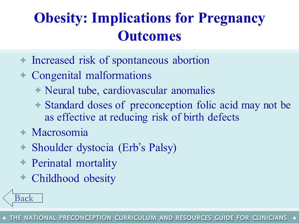 Obesity: Implications for Pregnancy Outcomes Increased risk of spontaneous abortionIncreased risk of spontaneous abortion Congenital malformationsCong