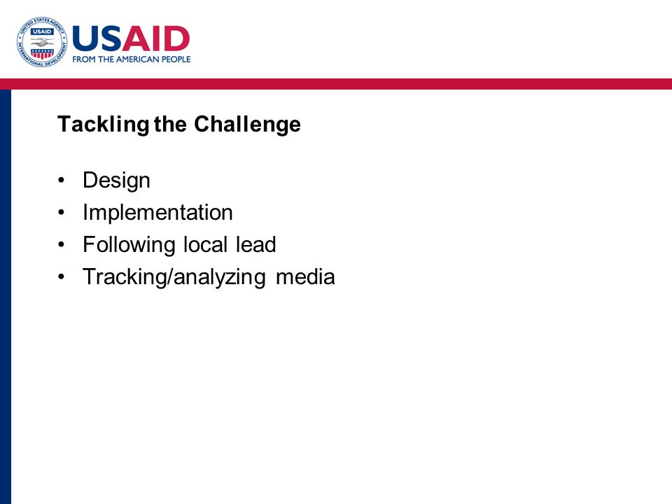 Tackling the Challenge Design Implementation Following local lead Tracking/analyzing media