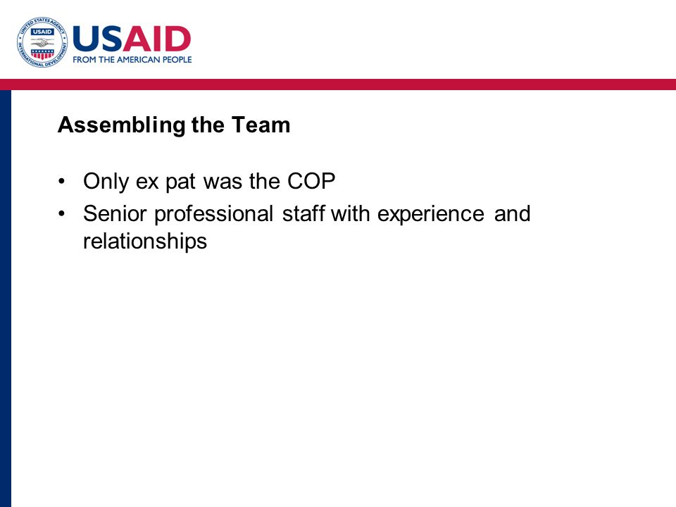 Assembling the Team Only ex pat was the COP Senior professional staff with experience and relationships