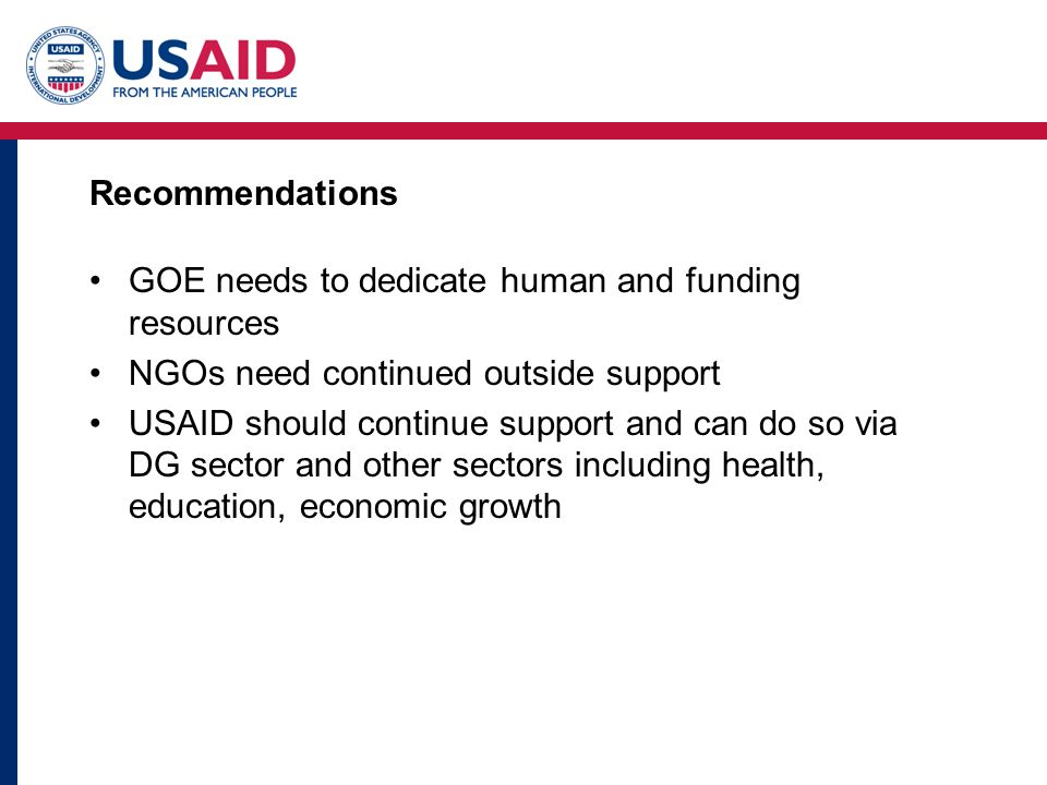 Recommendations GOE needs to dedicate human and funding resources NGOs need continued outside support USAID should continue support and can do so via DG sector and other sectors including health, education, economic growth