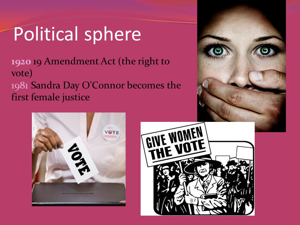Political sphere 1920 19 Amendment Act (the right to vote) 1981 Sandra Day O Connor becomes the first female justice