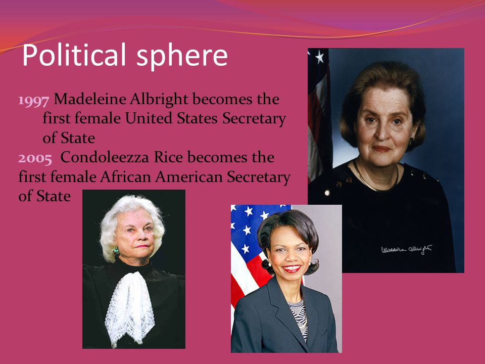 Political sphere 1997 Madeleine Albright becomes the first female United States Secretary of State 2005 Condoleezza Rice becomes the first female African American Secretary of State