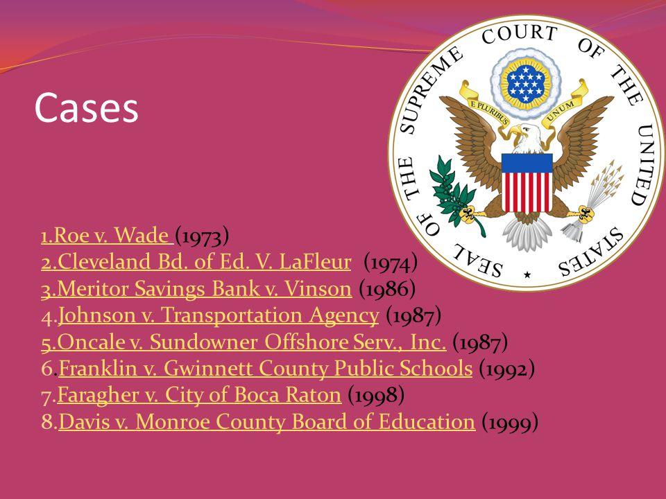 Cases 1.Roe v. Wade1.Roe v. Wade (1973) 2.Cleveland Bd. of Ed. V. LaFleur2.Cleveland Bd. of Ed. V. LaFleur (1974) 3.Meritor Savings Bank v. Vinson3.Me