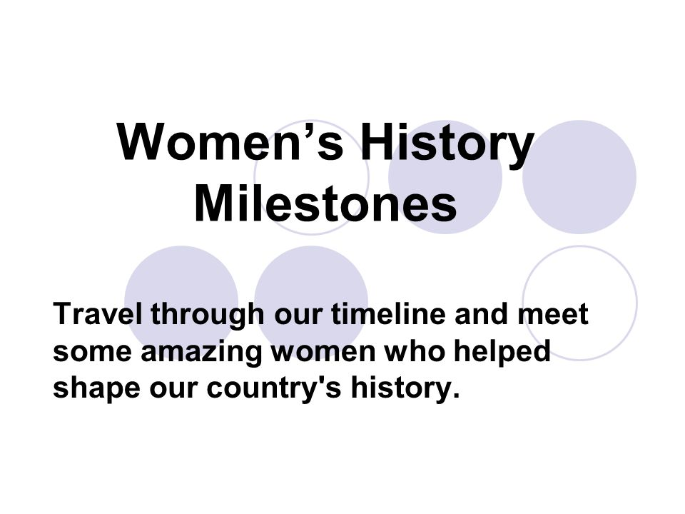Women's History Milestones Travel through our timeline and meet some amazing women who helped shape our country s history.