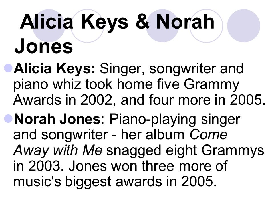 Alicia Keys & Norah Jones Alicia Keys: Singer, songwriter and piano whiz took home five Grammy Awards in 2002, and four more in 2005.