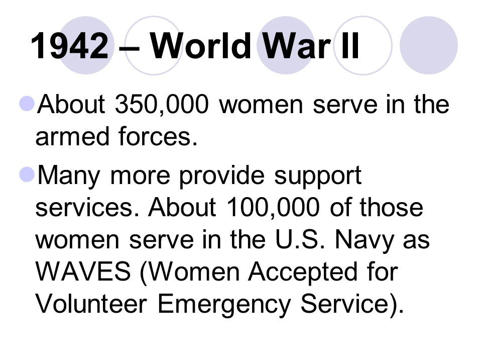 1942 – World War II About 350,000 women serve in the armed forces.