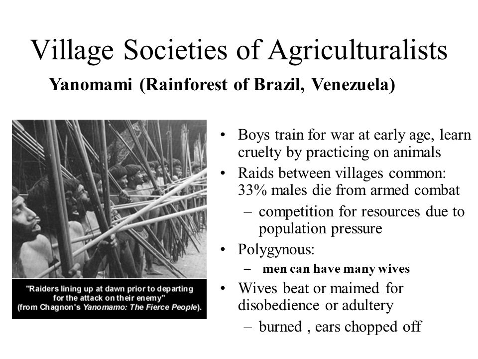 Village Societies of Agriculturalists Boys train for war at early age, learn cruelty by practicing on animals Raids between villages common: 33% males