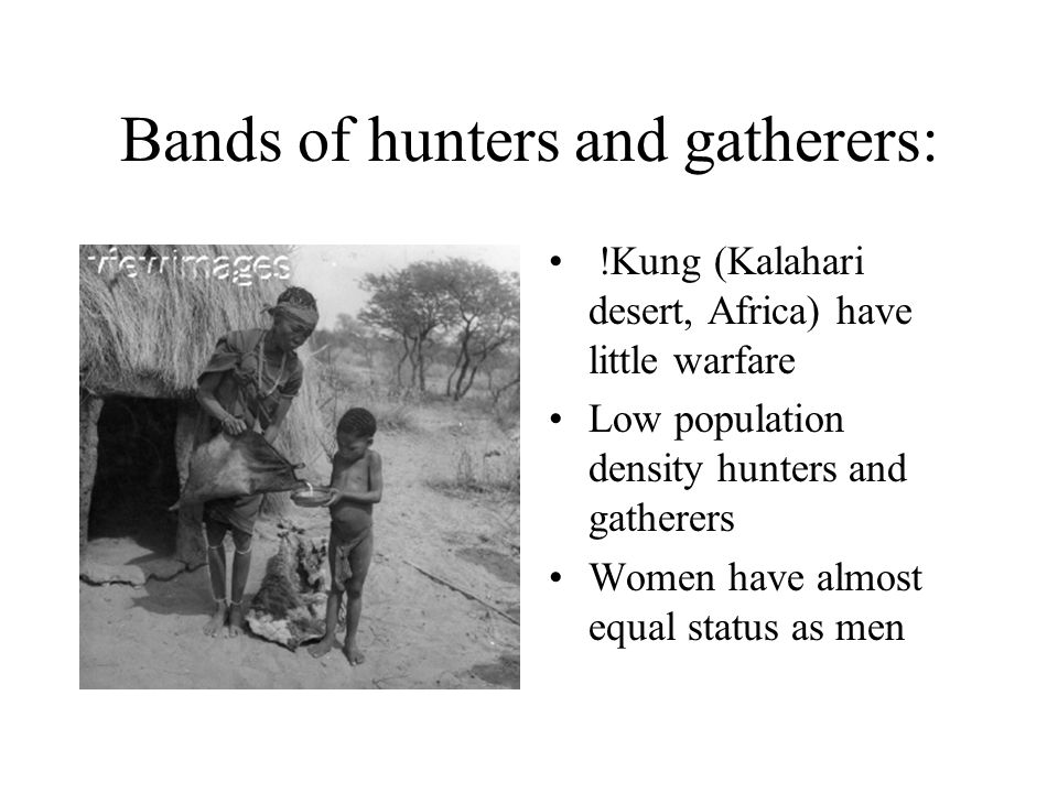 Bands of hunters and gatherers: !Kung (Kalahari desert, Africa) have little warfare Low population density hunters and gatherers Women have almost equ
