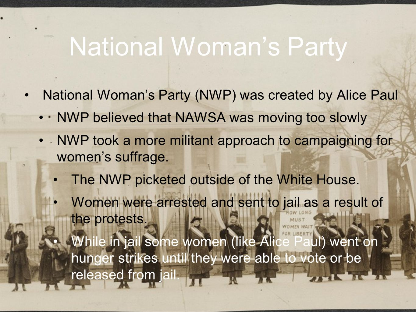 National Association Opposed to Woman Suffrage National Association Opposed to Woman Suffrage (NAOWS) was formed in New York City in 1911 NAOWS felt that women's suffrage would decrease women's work within their communities and societal reforms.