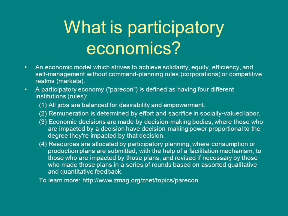 What is participatory economics? An economic model which strives to achieve solidarity, equity, efficiency, and self-management without command-planni