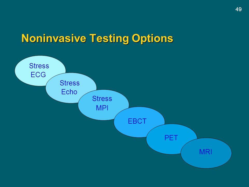 49 Stress ECG Stress Echo Stress MPI EBCT PET Noninvasive Testing Options MRI