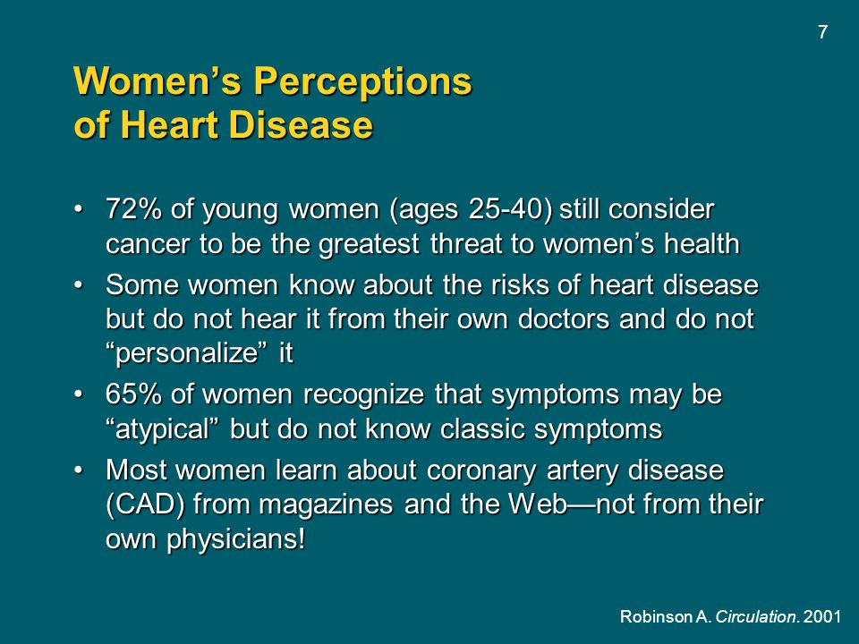 7 Women's Perceptions of Heart Disease 72% of young women (ages 25-40) still consider cancer to be the greatest threat to women's health72% of young w