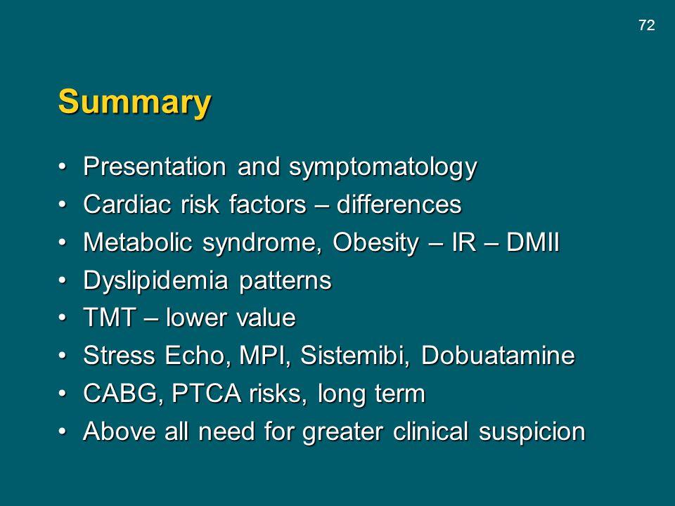 72 Summary Presentation and symptomatologyPresentation and symptomatology Cardiac risk factors – differencesCardiac risk factors – differences Metabol
