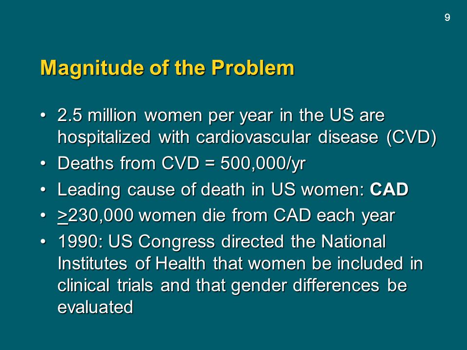 9 Magnitude of the Problem 2.5 million women per year in the US are hospitalized with cardiovascular disease (CVD)2.5 million women per year in the US
