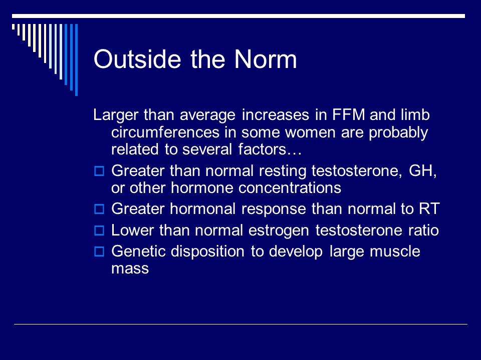 Outside the Norm Larger than average increases in FFM and limb circumferences in some women are probably related to several factors…  Greater than normal resting testosterone, GH, or other hormone concentrations  Greater hormonal response than normal to RT  Lower than normal estrogen testosterone ratio  Genetic disposition to develop large muscle mass
