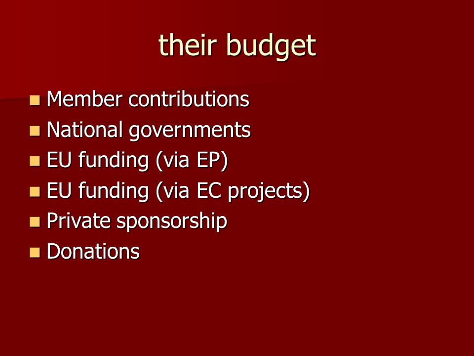their budget Member contributions Member contributions National governments National governments EU funding (via EP) EU funding (via EP) EU funding (via EC projects) EU funding (via EC projects) Private sponsorship Private sponsorship Donations Donations