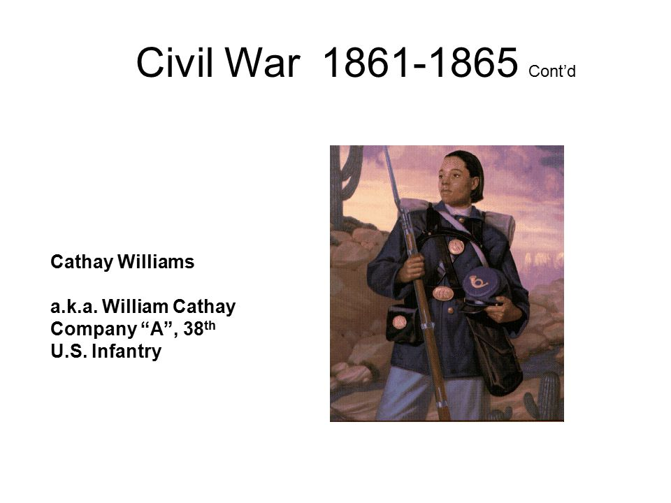 Civil War 1861-1865 Cont'd Cathay Williams a.k.a. William Cathay Company A , 38 th U.S. Infantry