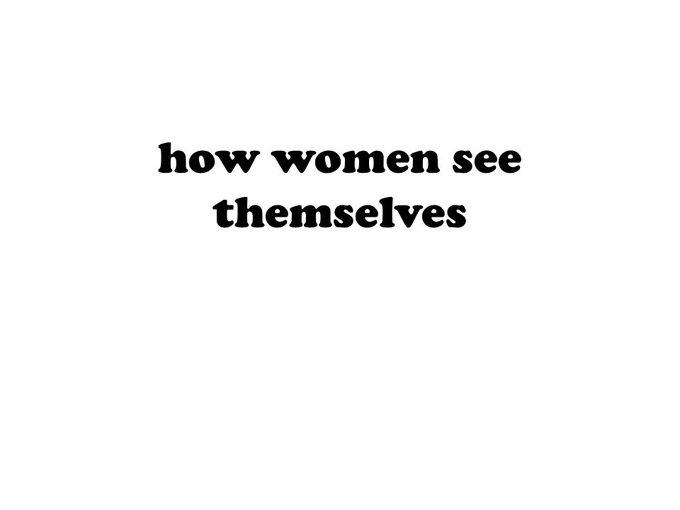 how women see themselves