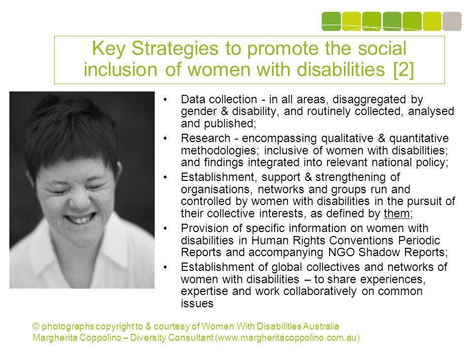 © photographs copyright to & courtesy of Women With Disabilities Australia Margherita Coppolino – Diversity Consultant (www.margheritacoppolino.com.au) Women With Disabilities Australia (WWDA) A model of best practice Winner, National Human Rights Award 2001 Winner, National Violence Prevention Award 1999 Winner, Tasmanian Women s Safety Award 2008 Certificate of Merit, Australian Crime & Violence Prevention Awards 2008 Nominee, French Republic s Human Rights Prize 2003 Nominee, UN Millennium Peace Prize for Women 2000