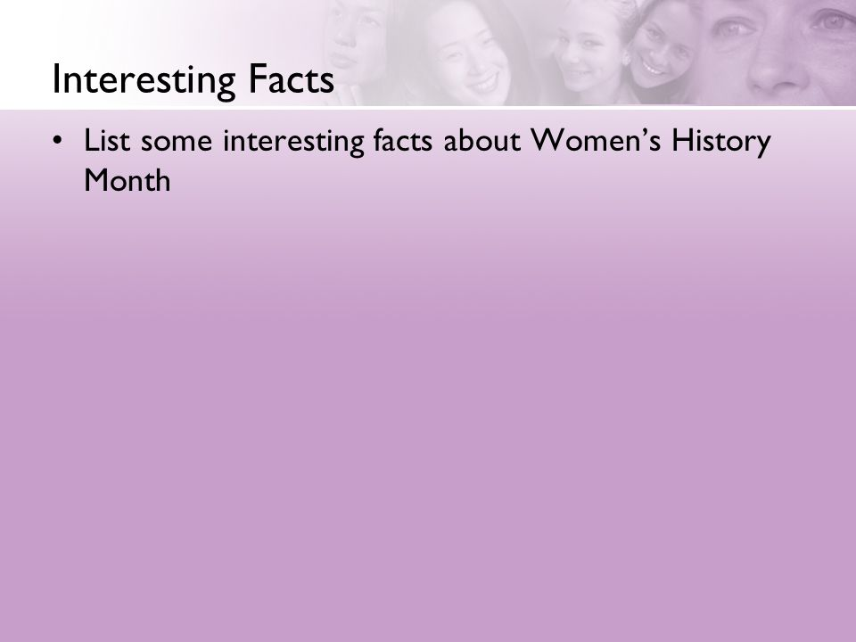 Interesting Facts List some interesting facts about Women's History Month
