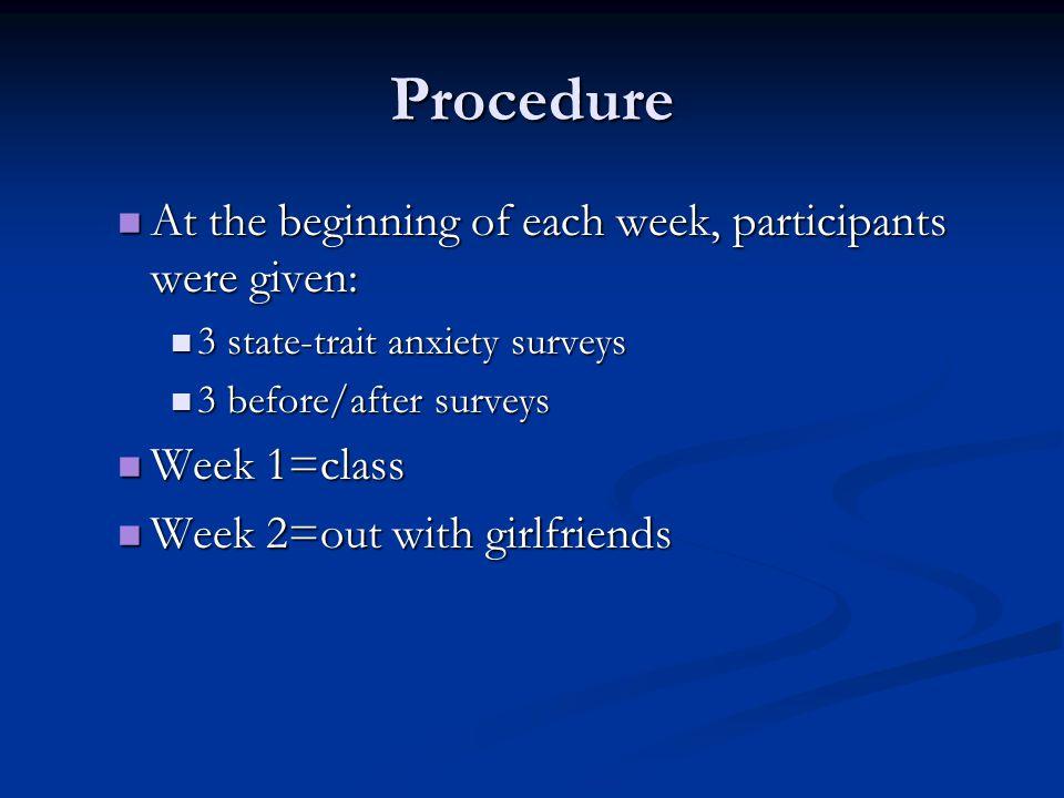 Procedure At the beginning of each week, participants were given: At the beginning of each week, participants were given: 3 state-trait anxiety survey