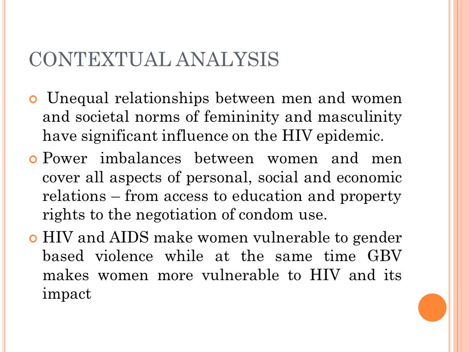 CONTEXTUAL ANALYSIS Unequal relationships between men and women and societal norms of femininity and masculinity have significant influence on the HIV