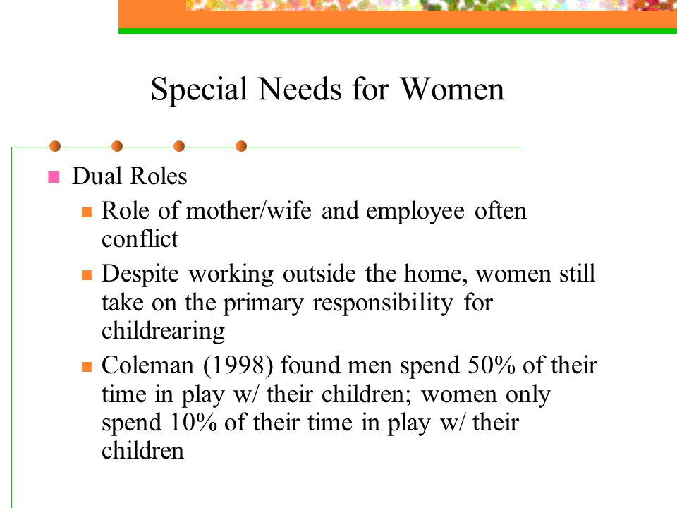 Special Needs for Women Dual Roles Role of mother/wife and employee often conflict Despite working outside the home, women still take on the primary responsibility for childrearing Coleman (1998) found men spend 50% of their time in play w/ their children; women only spend 10% of their time in play w/ their children
