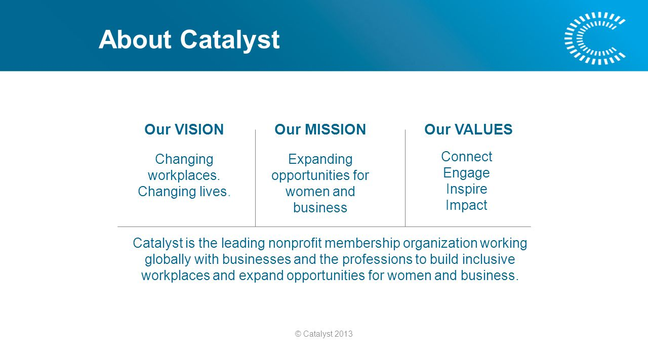 About Catalyst Our VISION Changing workplaces. Changing lives.