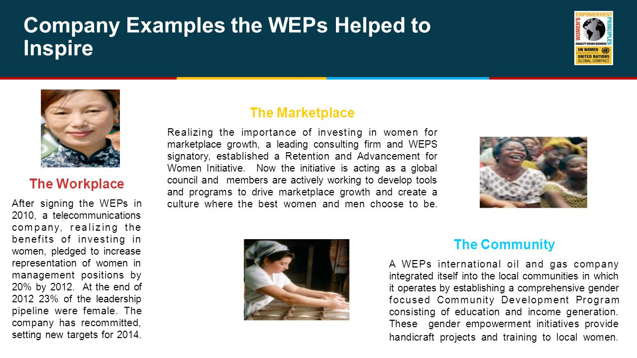 Company Examples the WEPs Helped to Inspire The Workplace After signing the WEPs in 2010, a telecommunications company, realizing the benefits of investing in women, pledged to increase representation of women in management positions by 20% by 2012.
