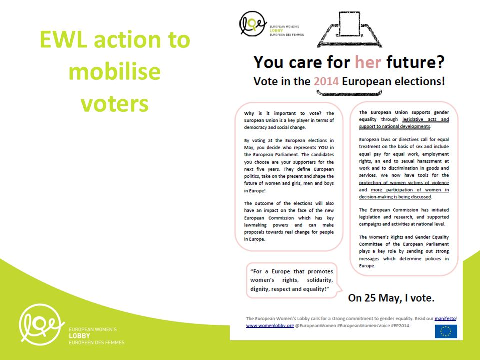 EWL action to mobilise voters