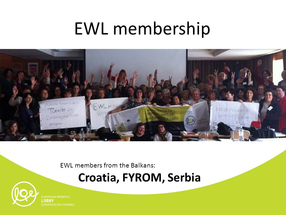 EWL membership EWL members from the Balkans: Croatia, FYROM, Serbia